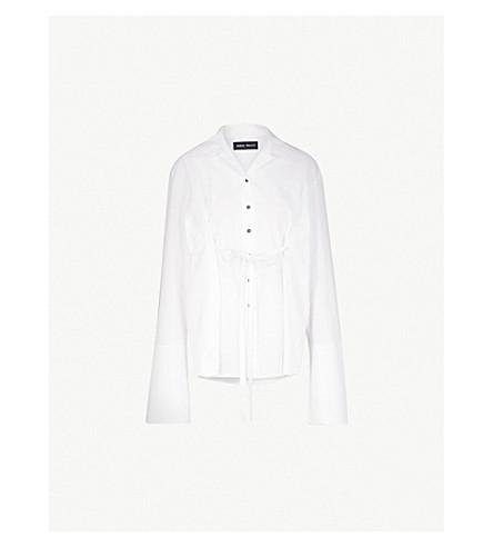 DANIEL POLLITT Self-tie cotton-poplin shirt (White