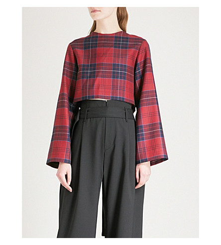 DANIEL POLLITT Checked wool crop top (Red/navy