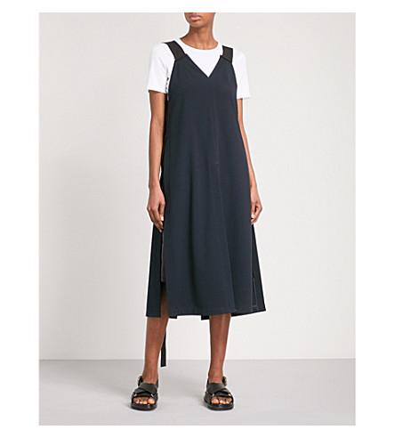 DANIEL POLLITT Strap-detailed V-neck crepe dress (Black