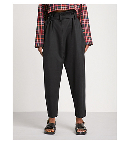 DANIEL POLLITT Paper bag-waist tapered high-rise wool trousers (Black