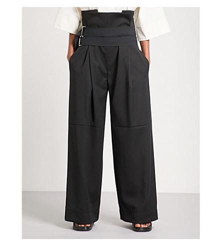 DANIEL POLLITT Corseted wide high-rise wool trousers (Black