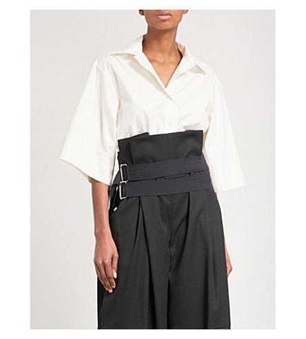 DANIEL POLLITT Revere-collar cropped cotton shirt (Cream