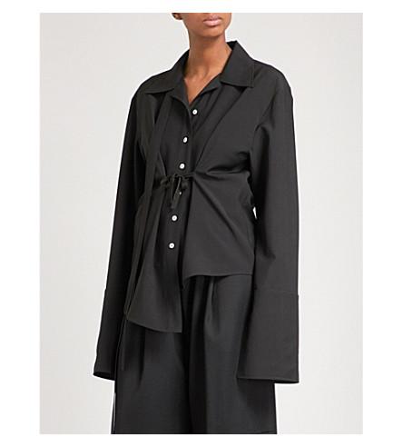 DANIEL POLLITT Revere-collar self-tie wool shirt (Black