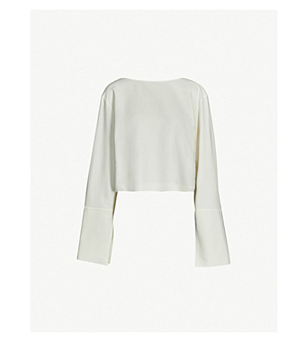 DANIEL POLLITT Oversized cuff detail cotton-blend top (Ivory