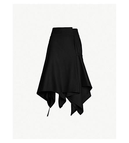 DANIEL POLLITT Asymmetric draped wool skirt (Black