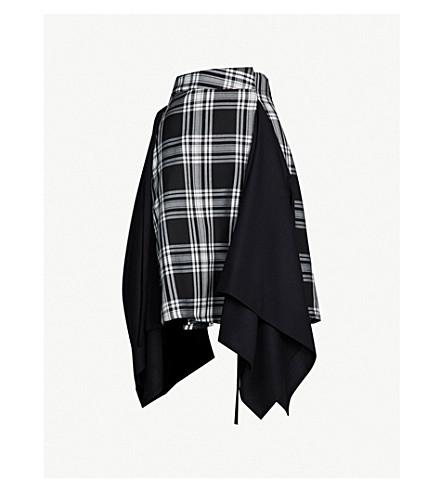 DANIEL POLLITT Checked contrast panel asymmetric wool skirt (Black white