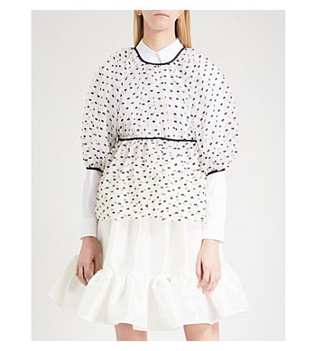CECILIE BAHNSEN Amo puff-sleeve silk-blend tulle blouse (Black/white