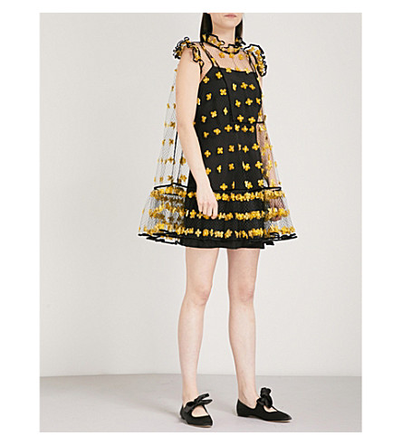 CECILIE BAHNSEN Appliquéd tulle mesh mini dress (Yellow/black