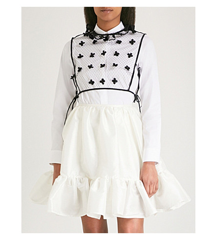CECILIE BAHNSEN Ayla tulle top (Black/white