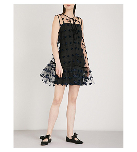 CECILIE BAHNSEN Aline appliquéd tulle mesh mini dress (Navy