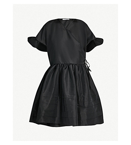 CECILIE BAHNSEN Prisca ruffled-sleeve taffeta dress (Black