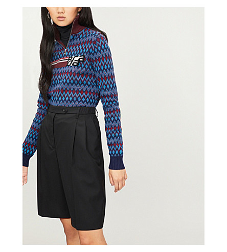 PRADA Logo-embroidered zigzag wool and cashmere-blend jumper (Cobalto