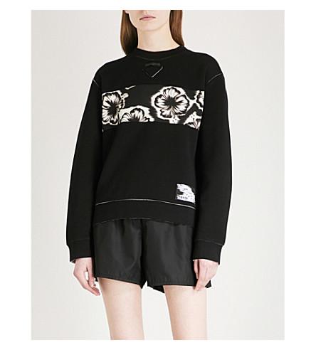 PRADA Comic patch cotton-blend sweatshirt (Nero/acciaio