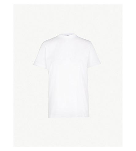 PRADA 徽标补丁平纹针织棉 T 恤 (比安科
