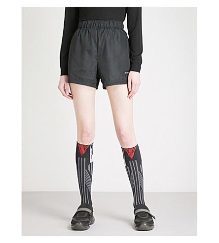 PRADA Logo-embroidered nylon shorts (Nero