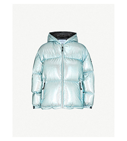 PRADA Hooded quilted metallic shell-down jacket (Argento/argento