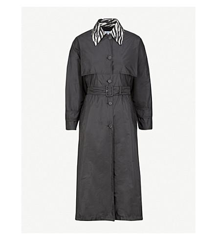 PRADA Tiger-print collar nylon coat (Nero/ferro