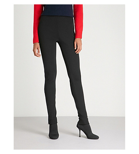 PRADA High-rise logo-print jersey leggings (Nero