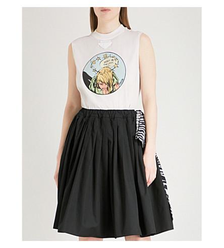 PRADA Comic appliquéd cotton-jersey top (Beige
