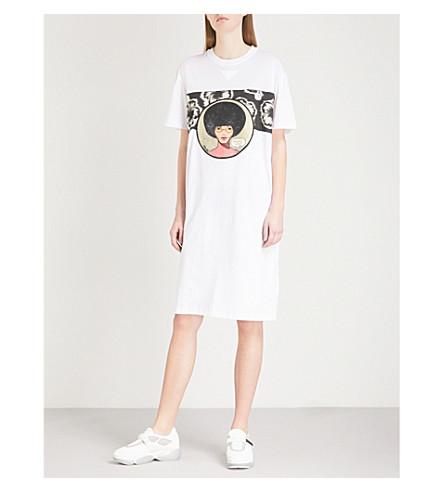 PRADA Ibiscus cotton-jersey T-shirt dress (Bianco/acciaio