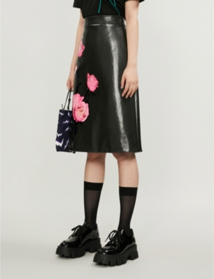 Floral-print leather A-line skirt