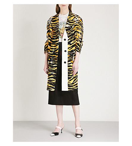 PRADA Patch-detail tiger-print denim coat (Topazio