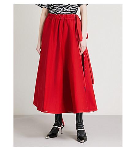 PRADA Bow-embellished nylon midi skirt (Bianco/rosso