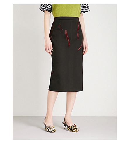 PRADA Line-print stretch-cotton pencil skirt (Rosso/nero