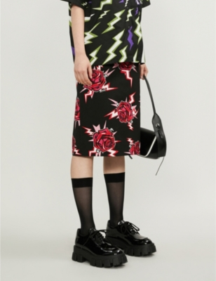 Rose-print cotton-jersey pencil skirt