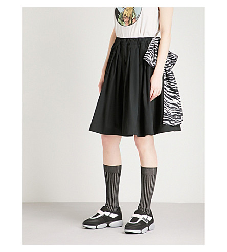 PRADA Tiger belt high-rise cotton skirt (Nero