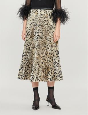 Leopard-print pleated crepe midi skirt