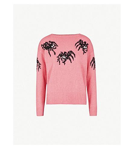 PRADA Spider-motif wool and cashmere-blend jumper (Rosa