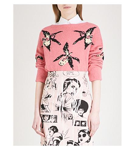 PRADA Orchid intarsia-motif cashmere jumper (Rosa