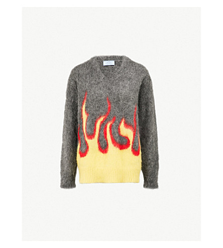 PRADA Flames-embroidered mohair-blend jumper (Sole