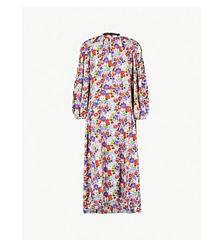 PRADA Peony-print silk-crepe dress (Lilla