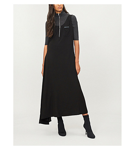 PRADA Logo-patch woven midi dress (Nero