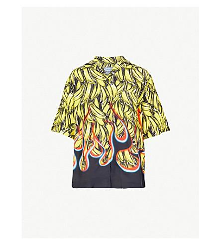 PRADA Banana Flames-print shell shirt (Limone/nero