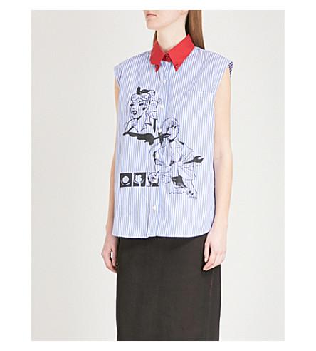 PRADA Emma comic-print striped cotton shirt (Azzurro/rosso