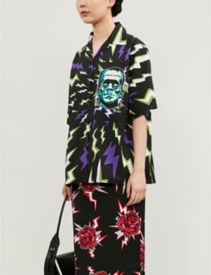 Graphic-print regular-fit cotton-poplin shirt