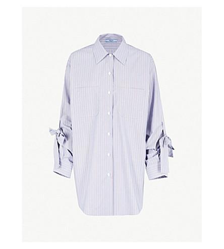 PRADA 系袖条纹棉质衬衫 (海军