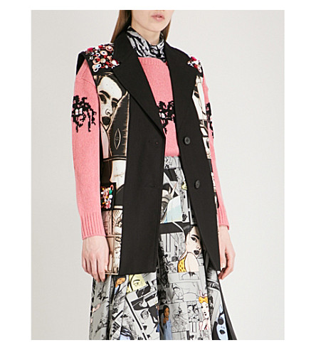 PRADA Comic-motif cotton-twill jacket (Nero/nero