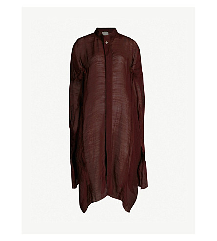 PHAEDO Ruched-sleeve wool and silk-blend shirt (Blackberry