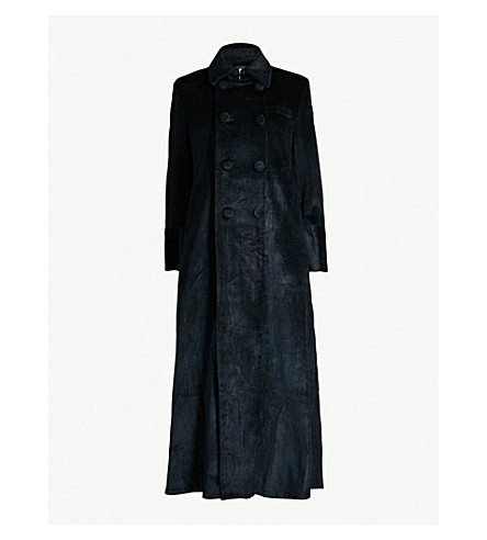 PHAEDO Double-breasted silk and cotton-blend corduroy coat (Blueberry