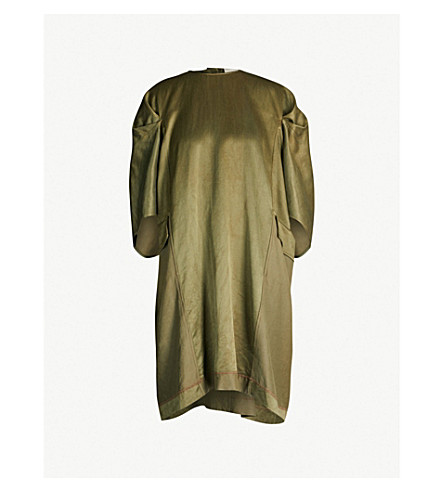 PHAEDO Oversized wool and silk-blend dress (Green