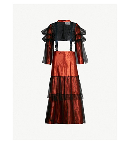 QUETSCHE Two-part tulle and linen- and silk-blend dress (Dark orange