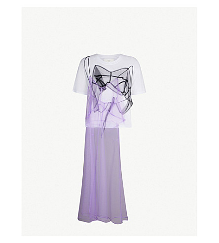 QUETSCHE Hidden Dress cotton-jersey and tulle T-shirt (Purple