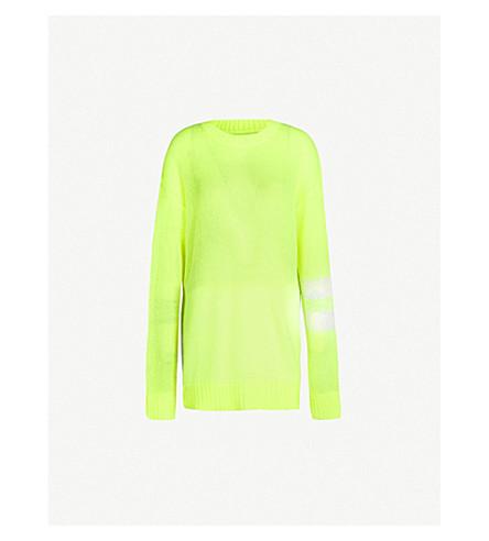 MAISON MARGIELA Contrast sleeve-panel knit sweater (Yellow fluo