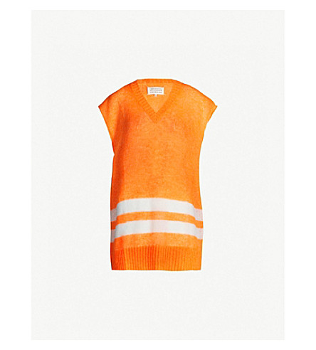 MAISON MARGIELA Contrast-striped V-neck knit sweater (Orange fluo
