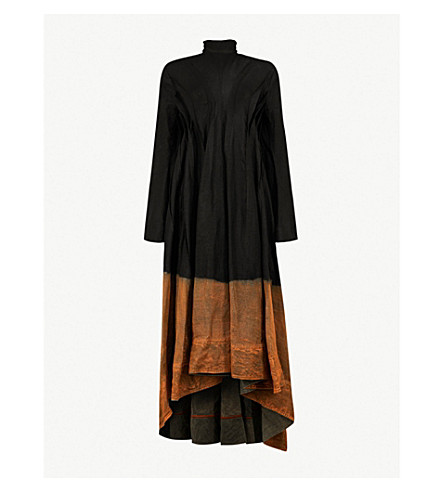 AGANOVICH Tulle-collar linen midi dress (Black