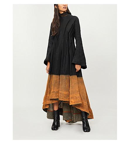 AGANOVICH薄纱衣领亚麻迷笛连衣裙 (黑色